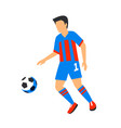 abstract in blue football player with ball soccer vector image vector image