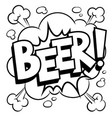 beer word comic book coloring vector image vector image