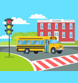 bus stops before pedestrian near school building vector image vector image
