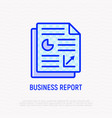 business report thin line icon vector image