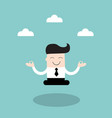 businessman meditating in the sky vector image