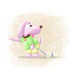 cartoon cute dog with bone vector image vector image