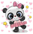 Cartoon panda ballerina on a hearts background