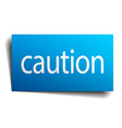 caution blue square isolated paper sign on white vector image vector image