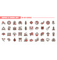 china and japan color linear icons set vector image
