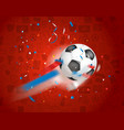 classic soccer ball flying to the net football vector image