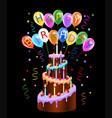colorful birthday cake with balloons vector image vector image