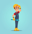 confused caucasian builder with adjustable wrench vector image vector image