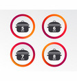 cooking pan icons boil five eight minutes vector image