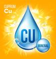 cu cuprum mineral blue drop icon vitamin vector image vector image