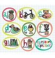 Cute colorful cartoon alphabet from A to H vector image