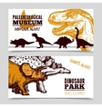 Dinosaurs museum exposition 2 banners set vector image vector image