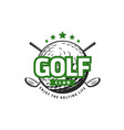 golf sport icon with crossed clubs and ball vector image vector image