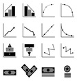 Graph and money icons on black background vector image vector image