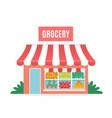 grocery shop cartoon greengrocer store facade vector image vector image