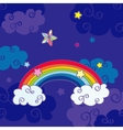 Hand drawn cartoon rainbow and clouds night sky vector image