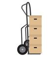 Hand truck with boxes vector image vector image