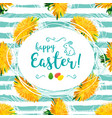 happy easter greeting card yellow vector image vector image