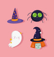 happy halloween cute ghost spider witch and hat vector image vector image