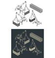 heavy equipment and logistics isometric set vector image vector image