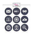 internet seo icons checklist target signs vector image