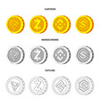isolated object of cryptocurrency and coin symbol vector image