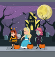 kids and halloween custome vector image
