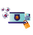 laptop screen with shield and star icon isolated vector image