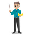 male teacher holding pointer and book vector image