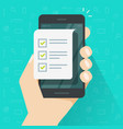 mobile phone and checklist vector image vector image