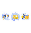 modern people using banking services set vector image
