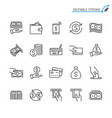 money line icons editable stroke vector image