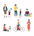 mothers with children baby set with various vector image vector image