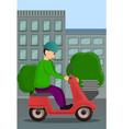 motorbike pizza delivery concept banner cartoon vector image