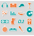 music club dj color simple stickers set eps10 vector image vector image