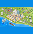 oil mining and transportation isometric sign vector image vector image