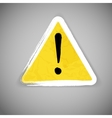 Old yellow attention road sign vector image vector image