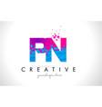 pn p n letter logo with shattered broken blue vector image