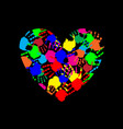 rainbow heart icon made of multicolored hand vector image vector image