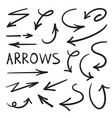 set for design arrows drawn manually vector image vector image