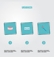 set of enamel icons flat style symbols with vector image