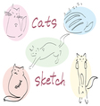 set of five drawn cats sketch vector image vector image