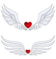 set red heart with angel wings vector image vector image