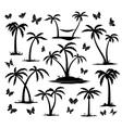 silhouettes palm trees vector image