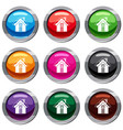 small snowy cottage set 9 collection vector image vector image