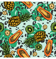 tropic seamless pattern with exotic fruits and vector image
