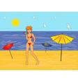 Girl in a bikini on the sea beach vector image