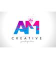 am a m letter logo with shattered broken blue vector image vector image
