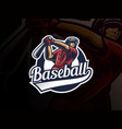 baseball sport logo design vector image