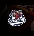 baseball sport logo design vector image vector image